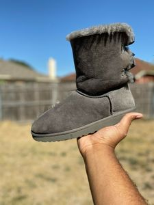 UGG Bailey Bow Gray Boots Ribbon